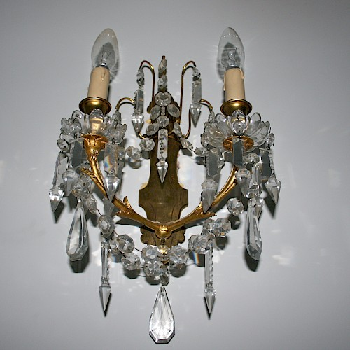 Pair of French Baccarat Crystal Wall Sconces