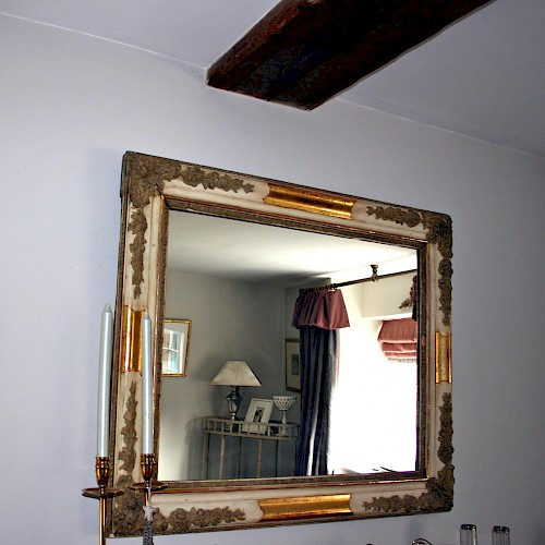 French Antique Gesso, Parcel Gilded Mirror