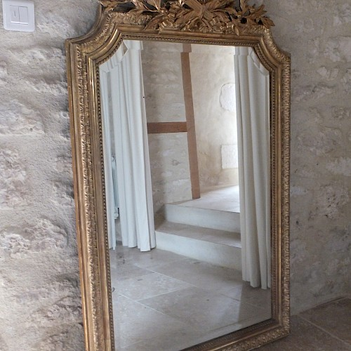 Large Antique French Water Gilded Mirror