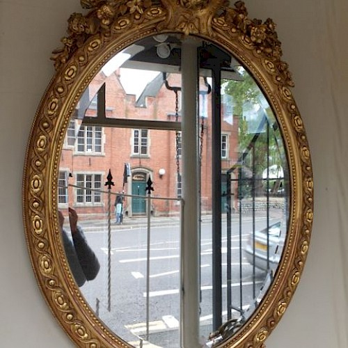 French Antique Oval Mirror 1900