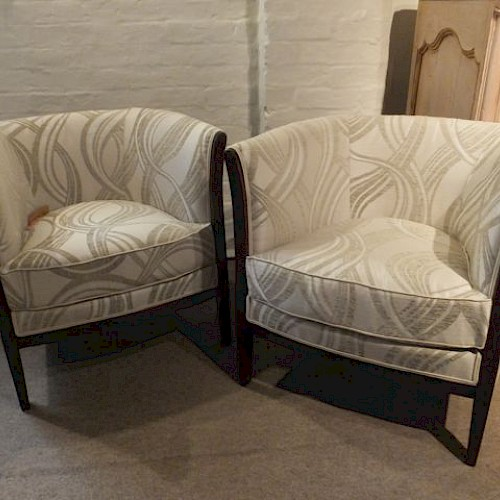 A Pair of Upholstered 1930's French Tub Chairs
