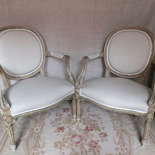A Pair of French Antique Fauteuil. 1820