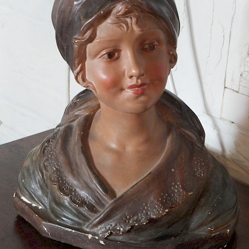 French Chalk Ware Bust of a French Country Girl